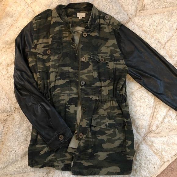 e2f88ef63b14e fiftystreet Jackets & Coats | Army Print And Faux Leather Sleeved ...